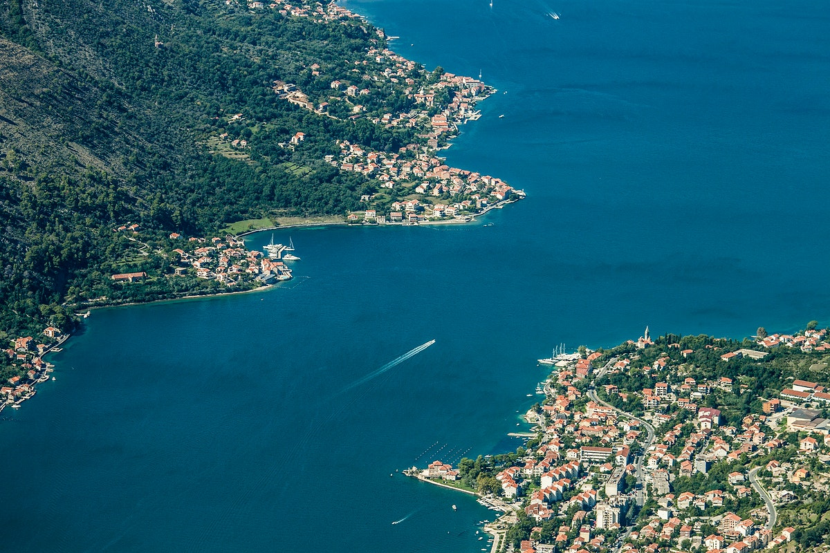 Aerial view of a bay and a populated town