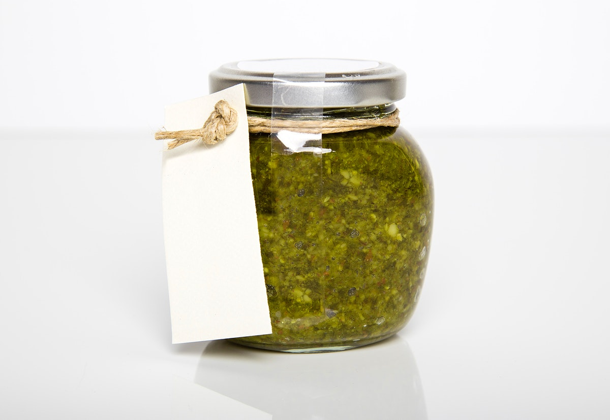A jar of green herby paste