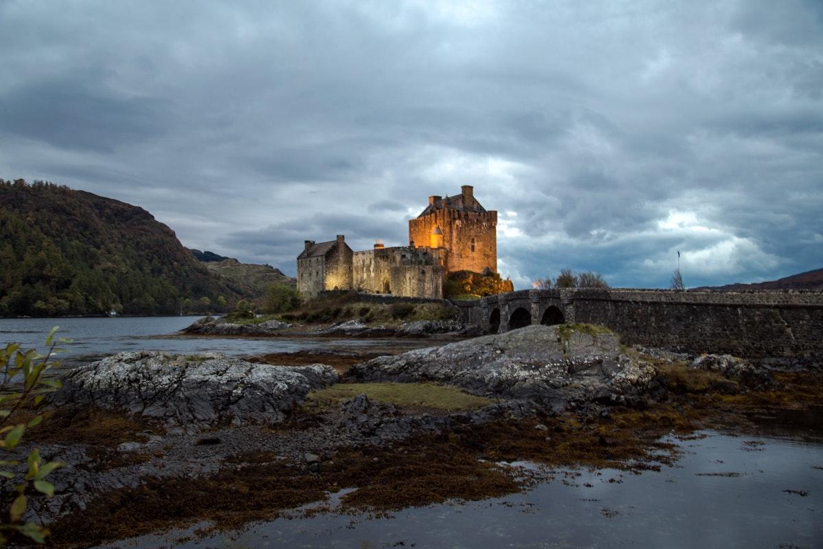 Water castle in the twilight