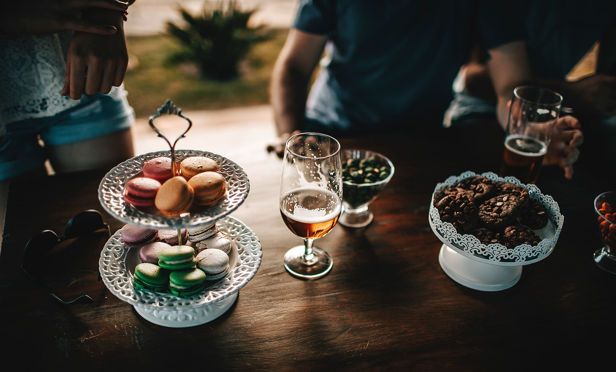 Beer and macarons