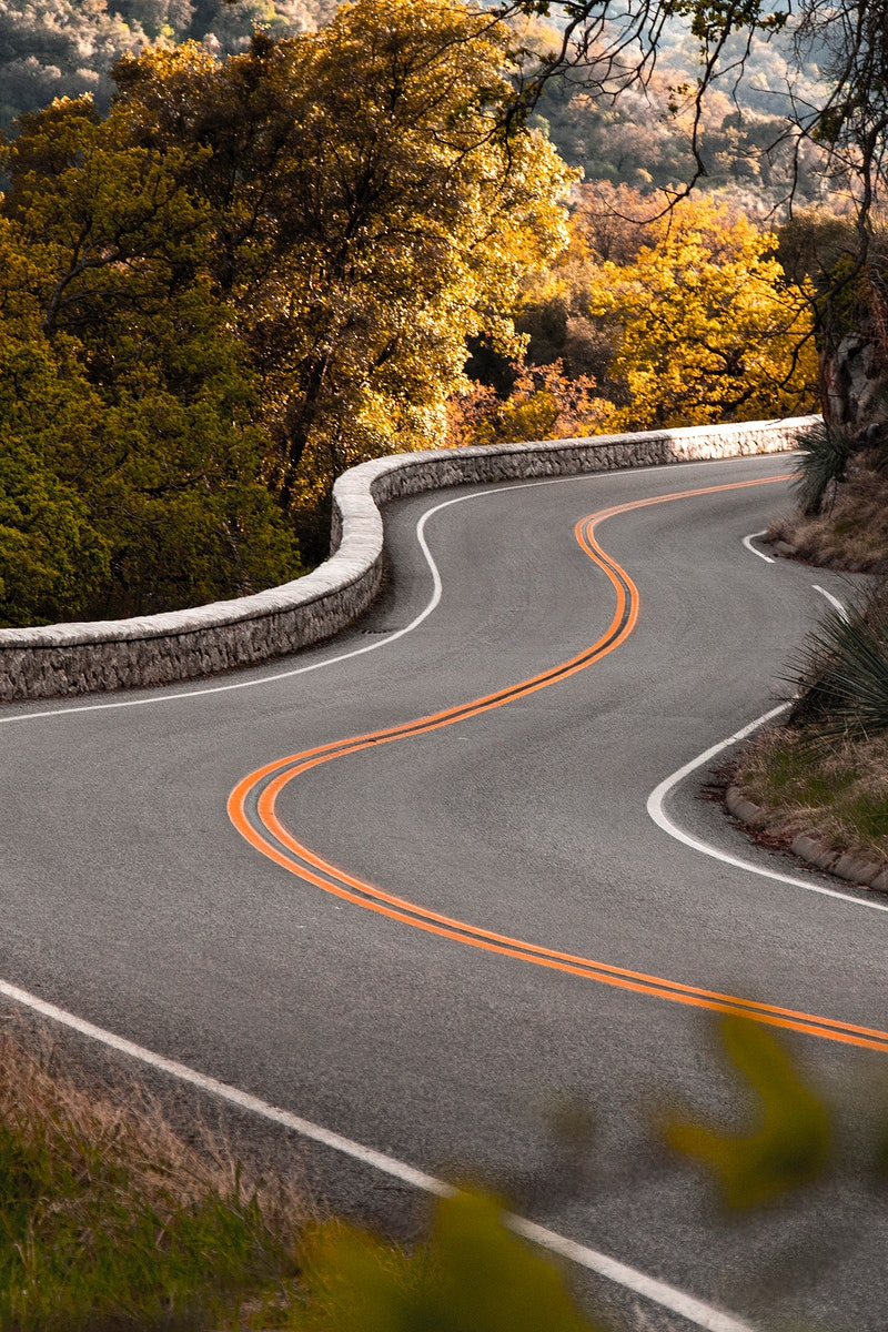 Winding road through a national park
