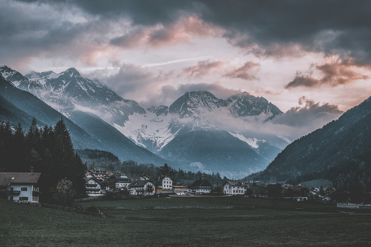 Early morning in the municipality of Antholz Niedertal in Rasen-Antholz, South Tyrol, Italy