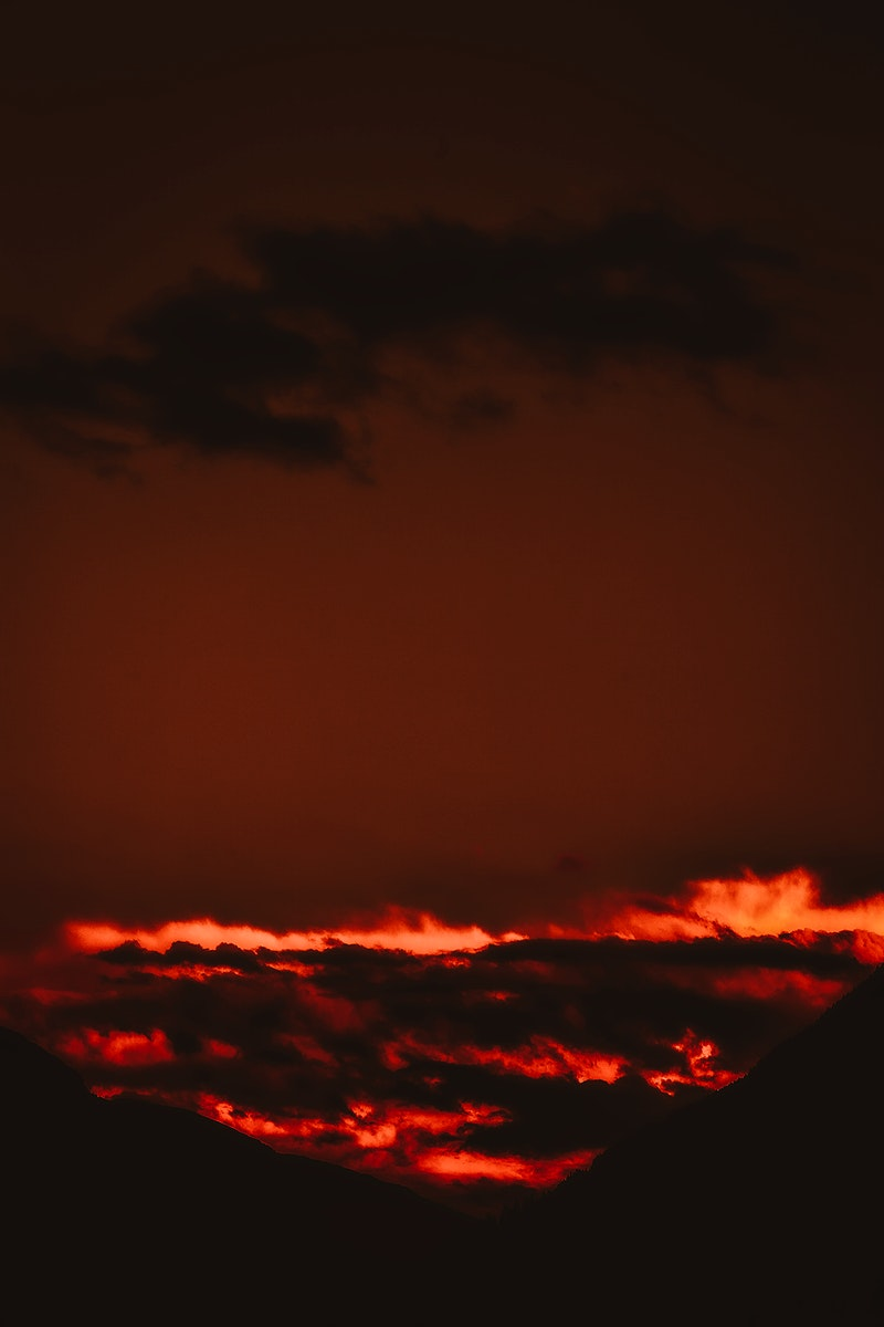 Sky view of red clouds