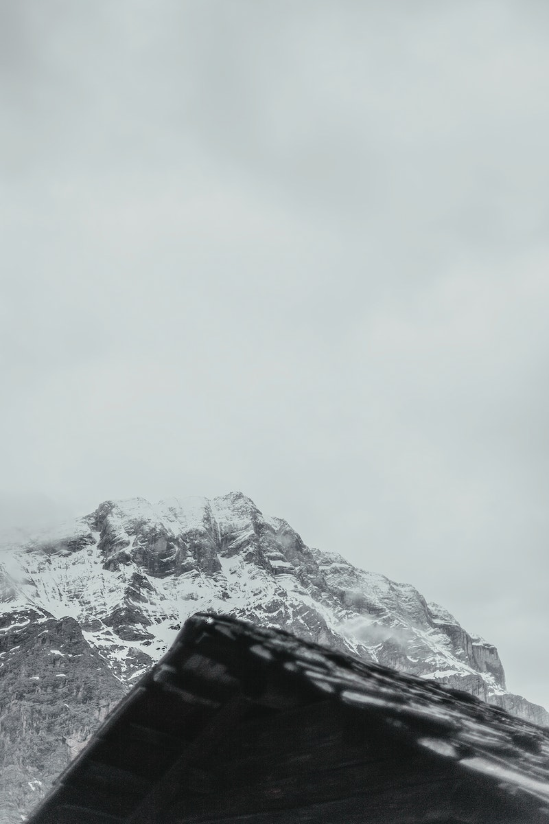 View of mountain in the clouds