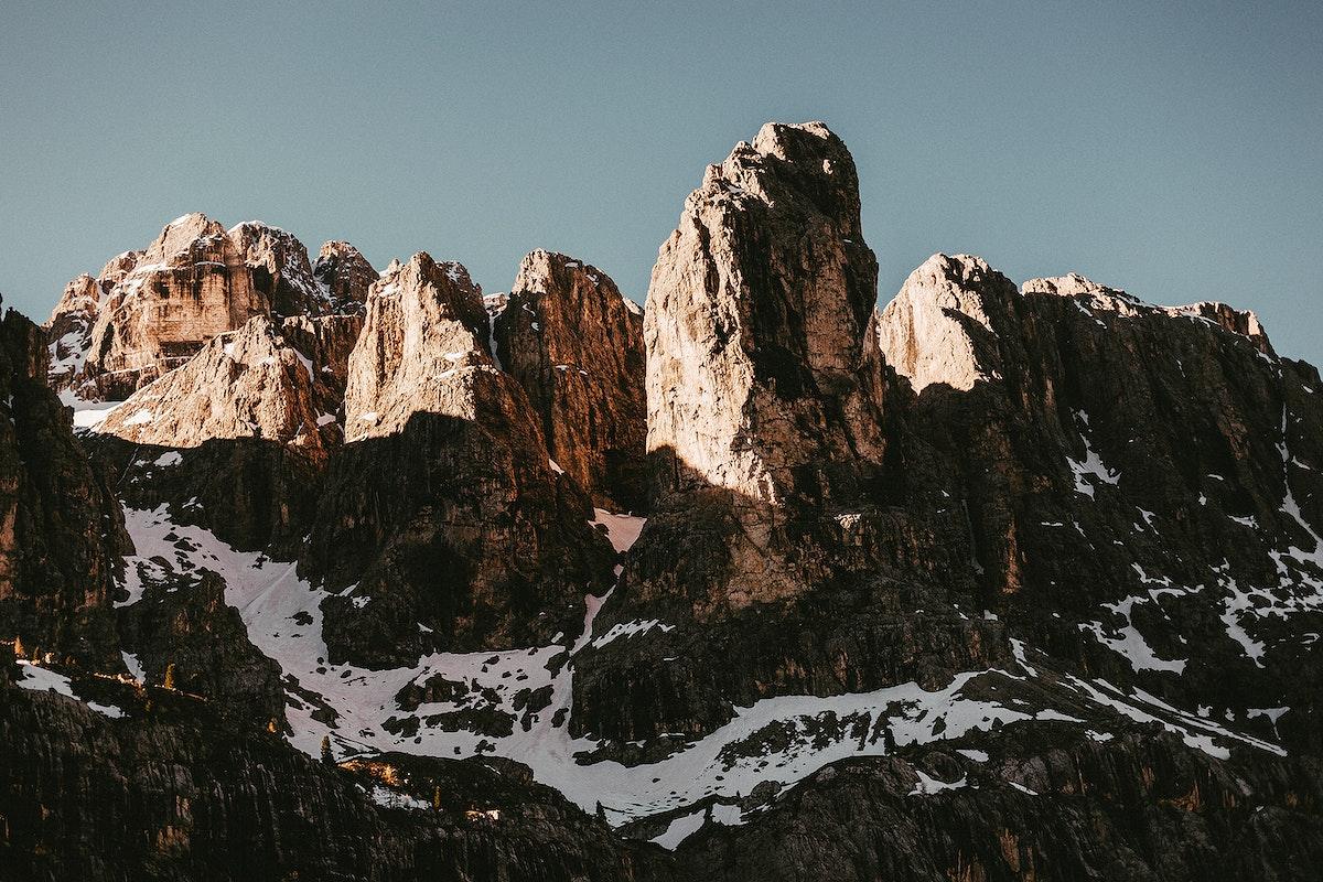 View of a snowy mountain range