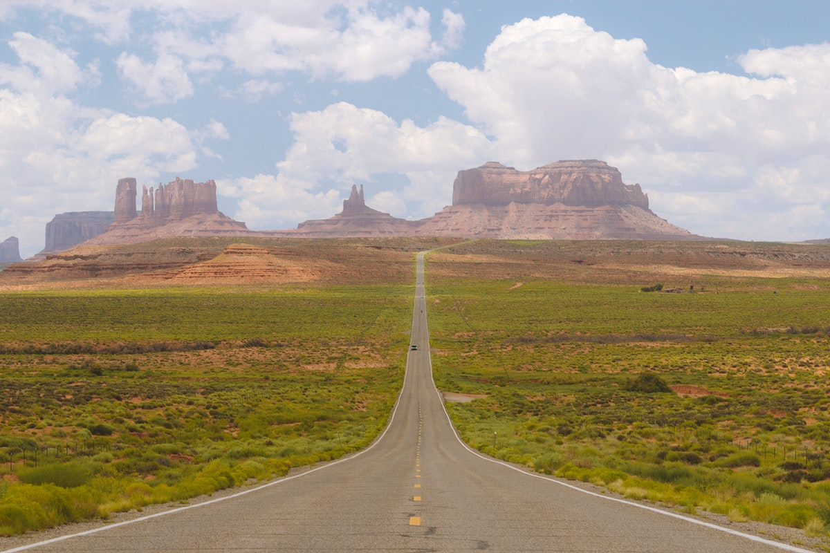 U.S. Route 163 leading to Monument Valley in Utah, USA