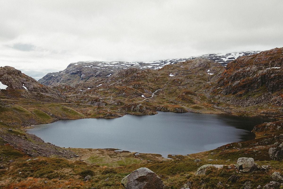 View of lake among the mountains