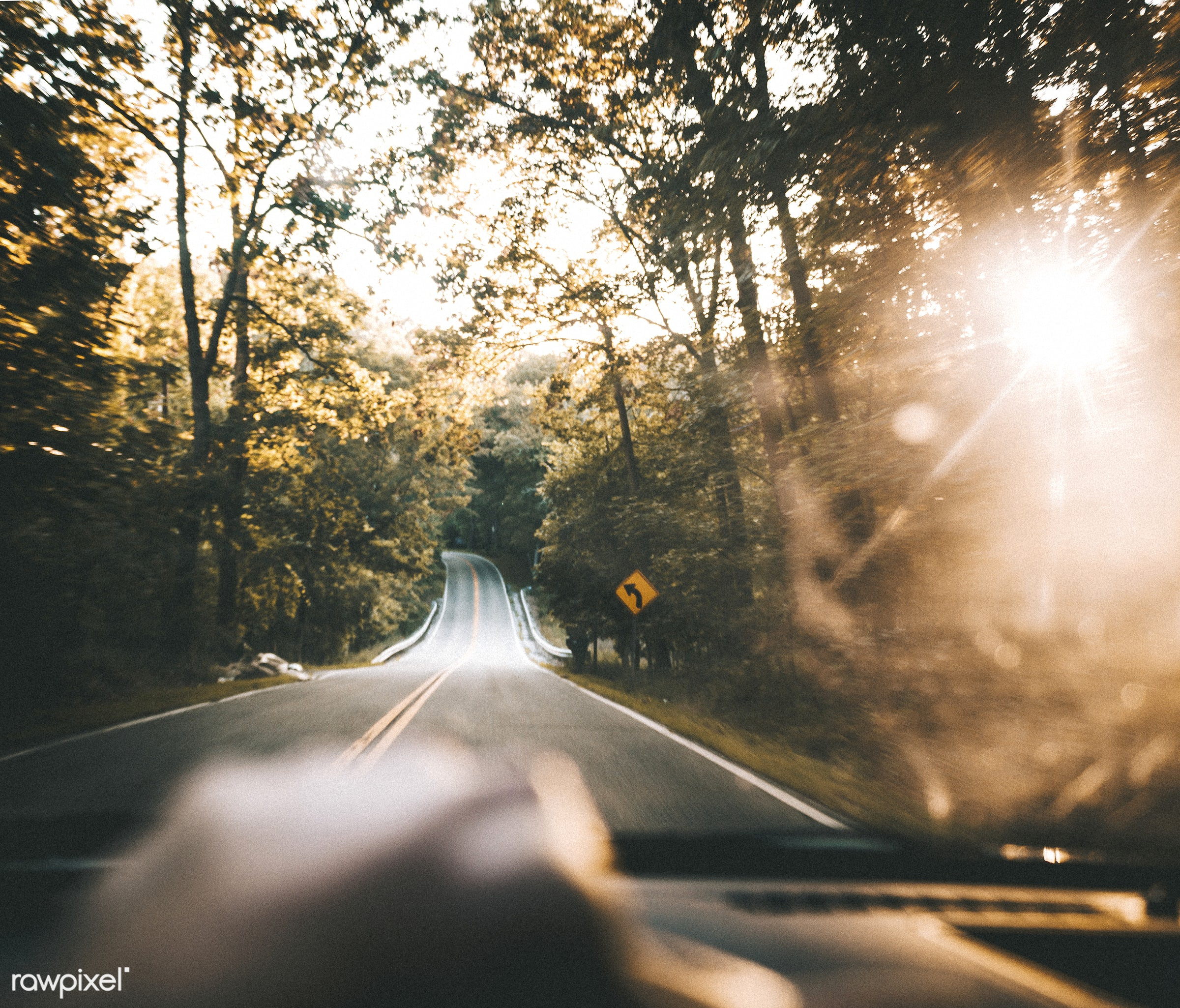 Road trip along the Cuyahoga Valley National Park in Ohio, USA - america, car, curve, cuyahoga valley national park, driving...