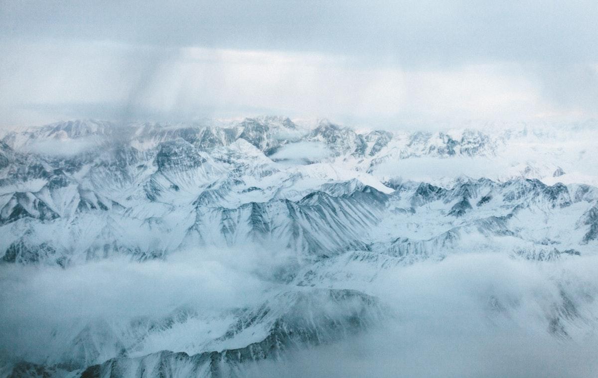 Snowy mountain views in winter