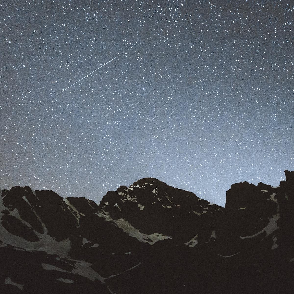 Starry night sky in Banff Alberta, Canada