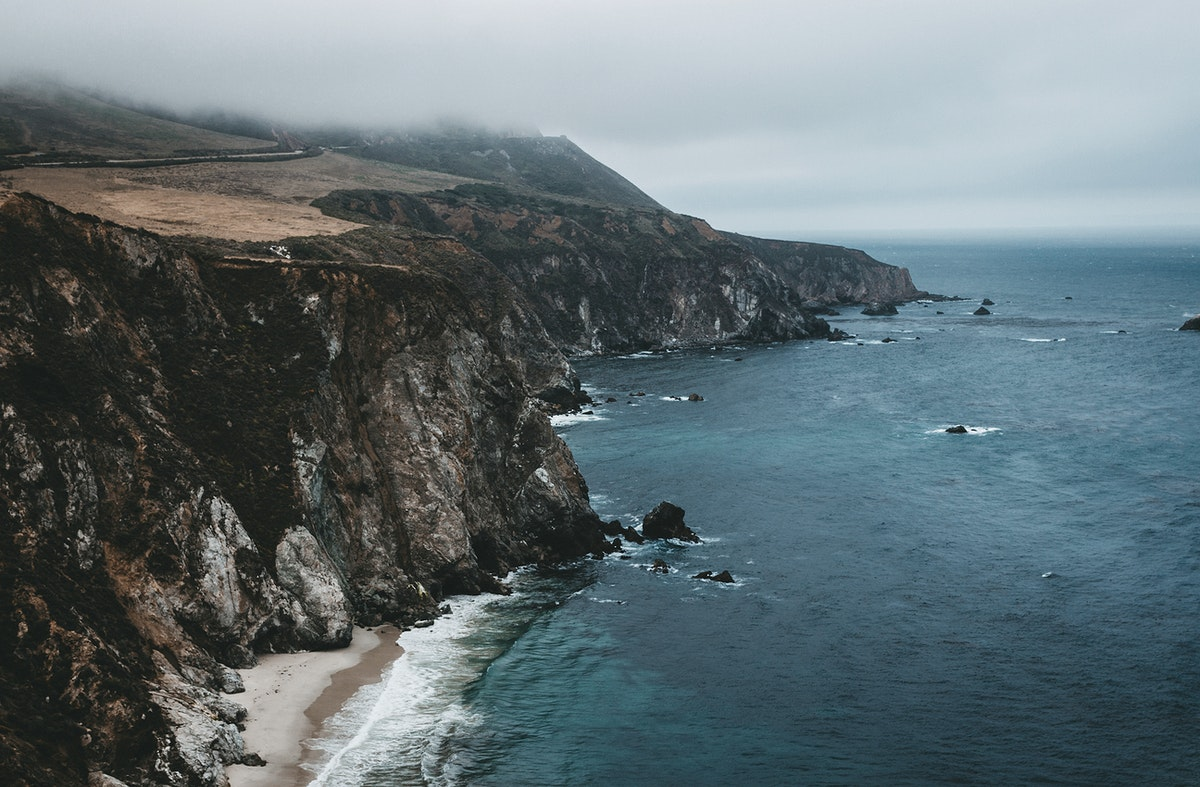 View of cliffs and the ocean