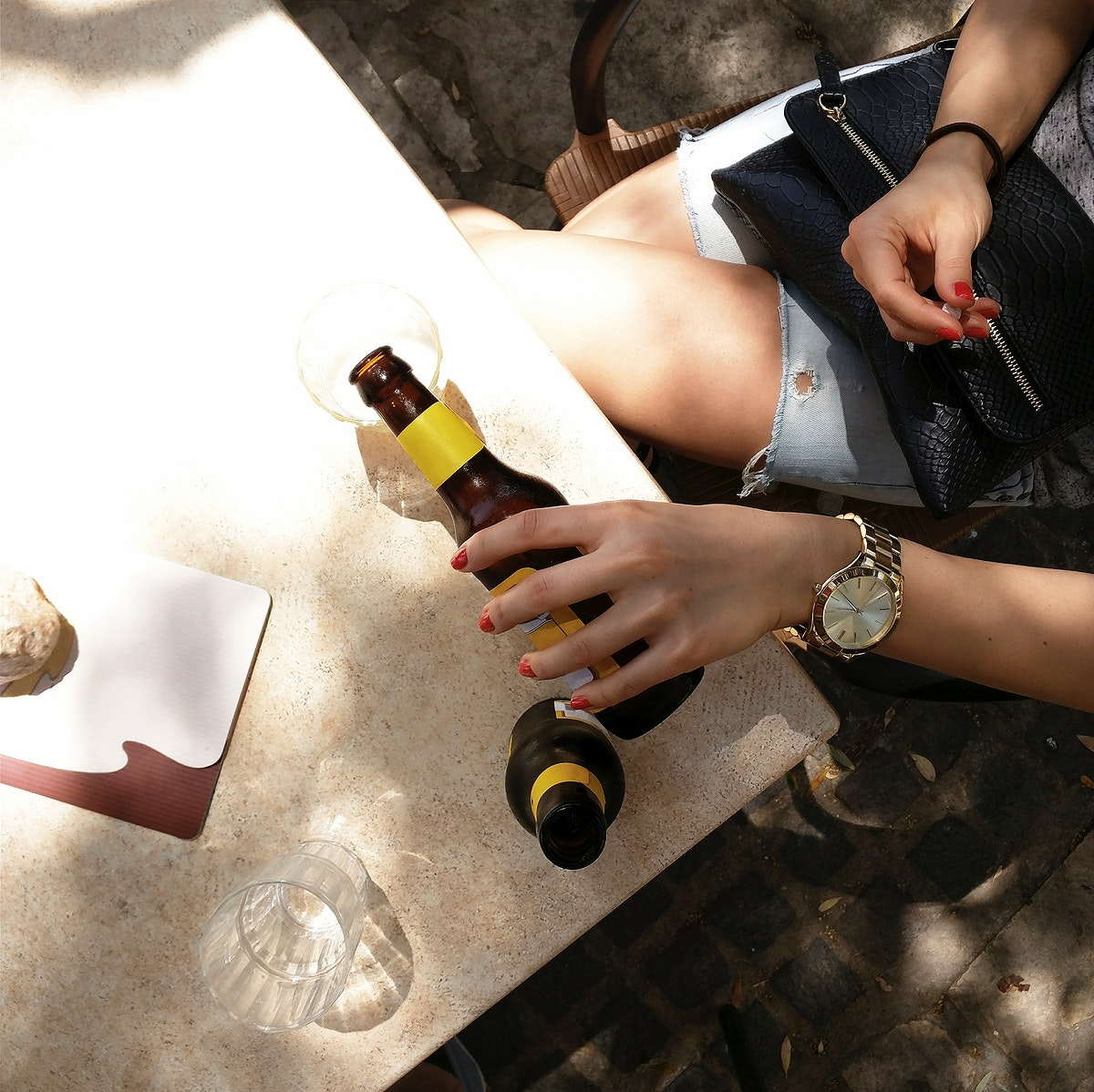 Woman chilling while have a beer