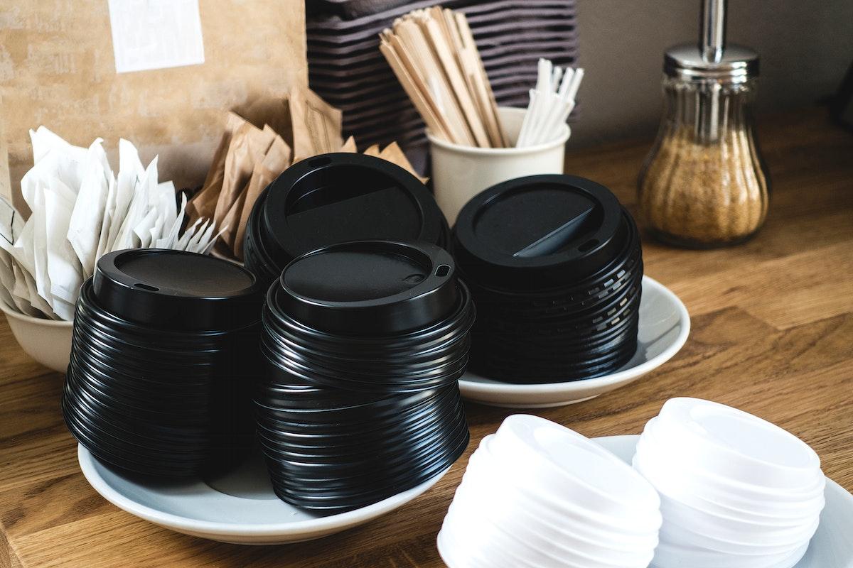 Closeup of coffee cup lids