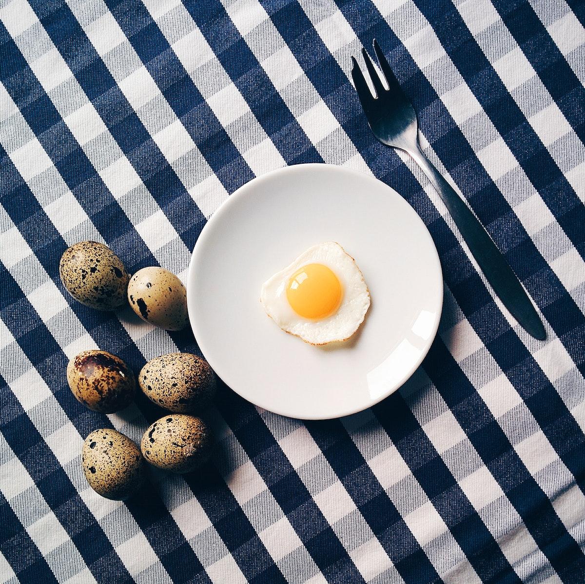 Fried quail eggs for breakfast