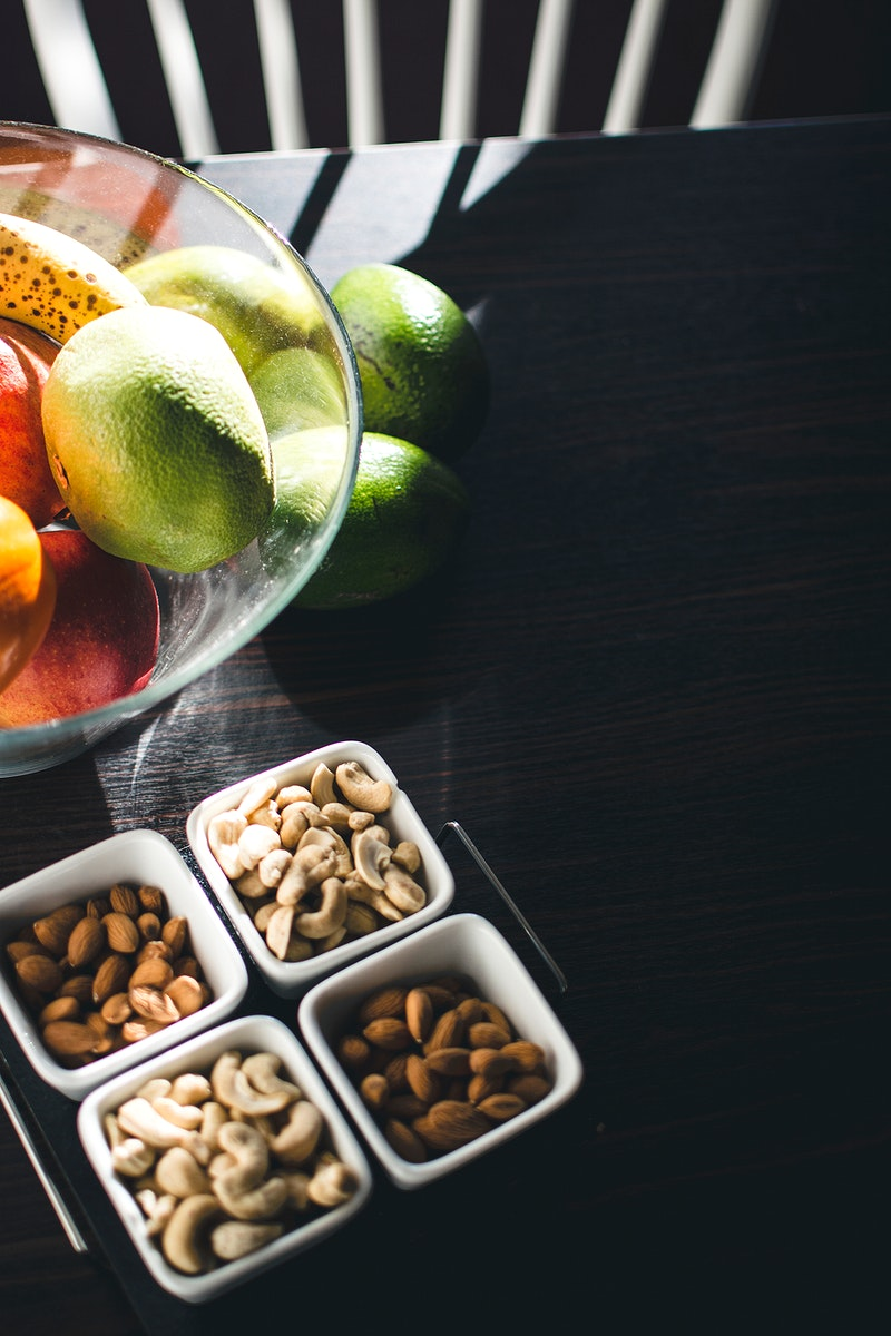 Nuts and fruits on the table
