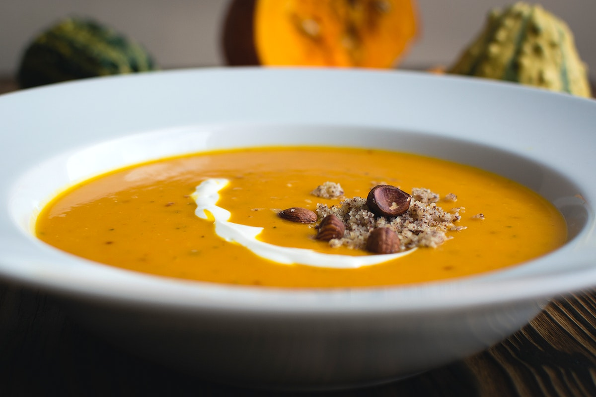 Closeup of pumpkin soup