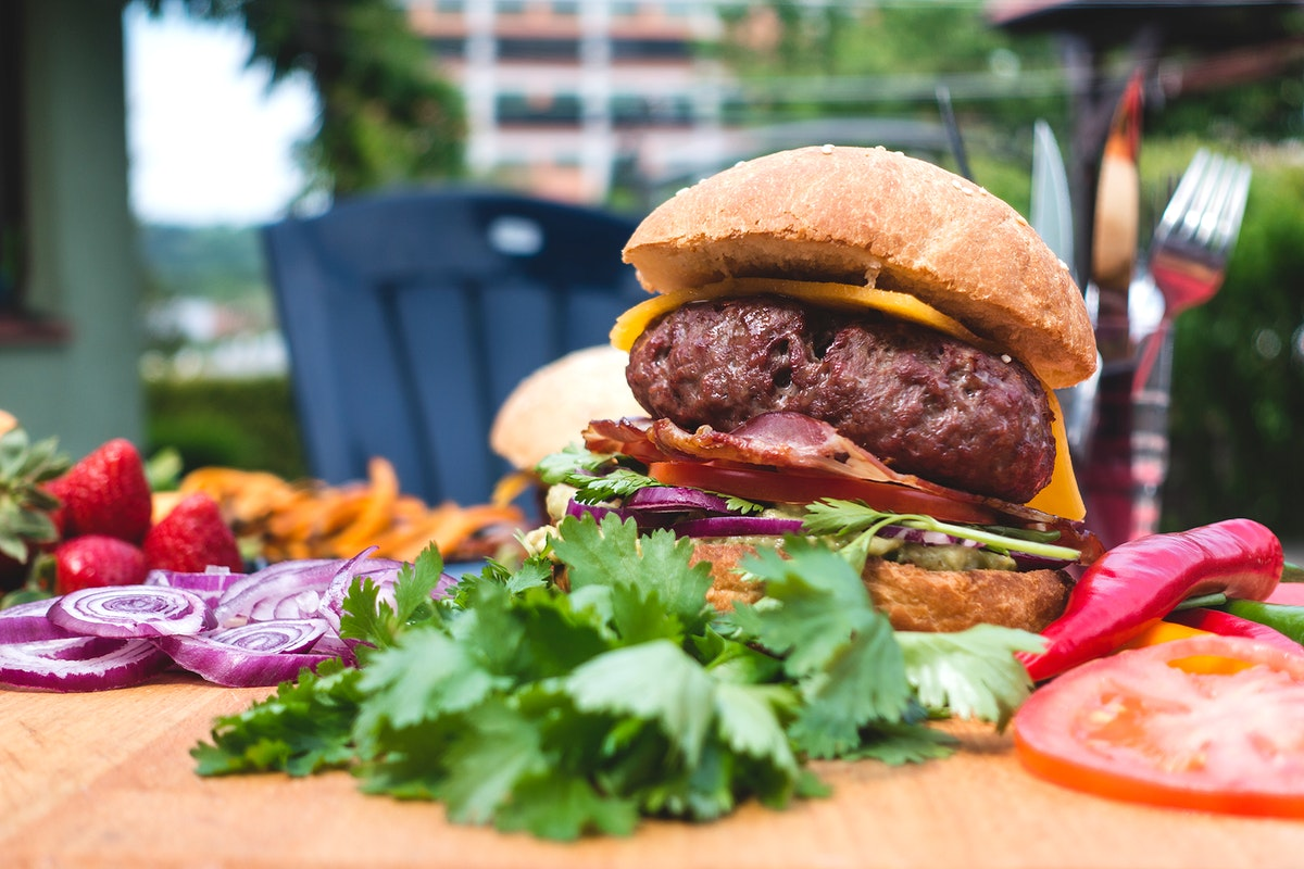 Burger with cheddar cheese and bacon food photography