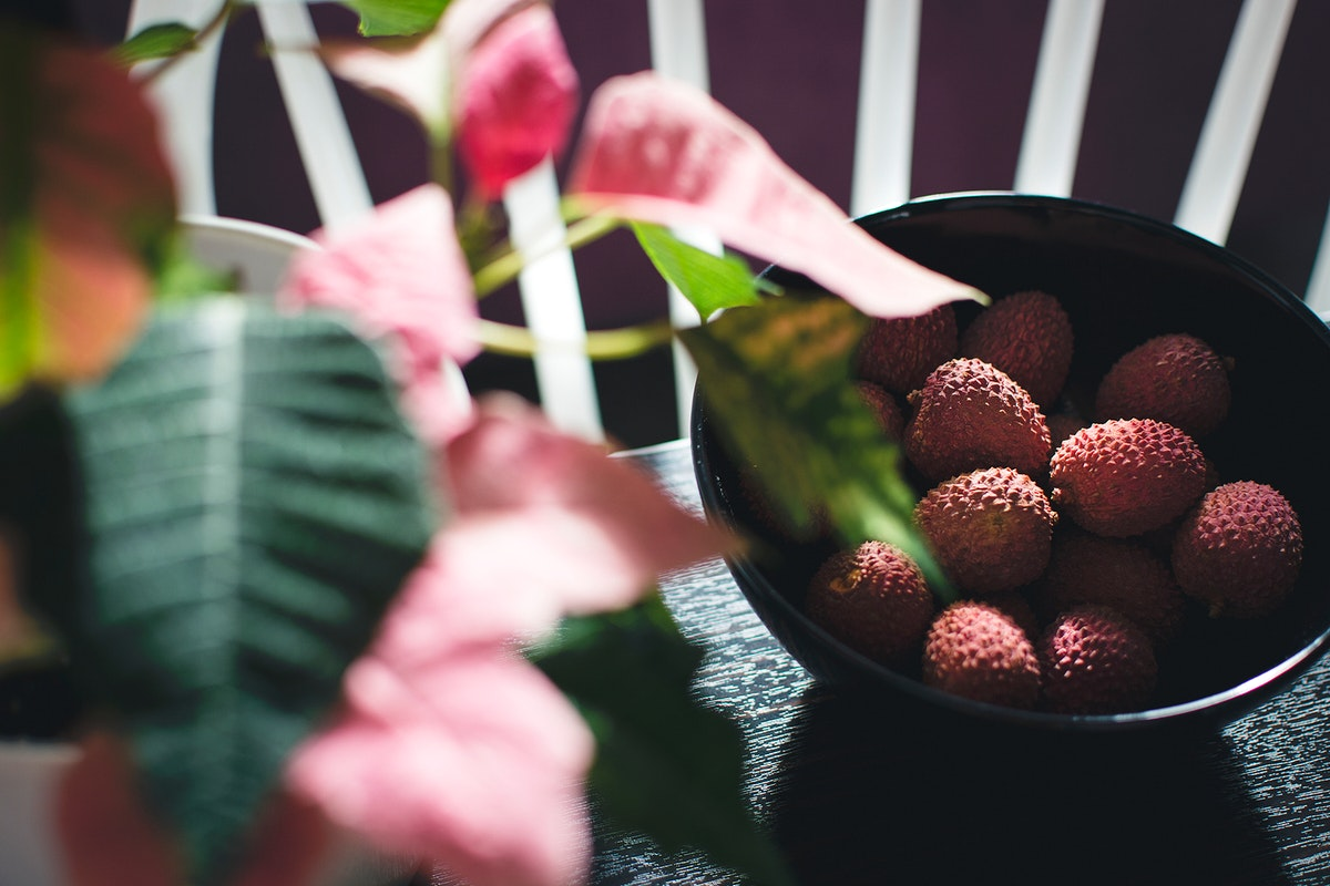 Fresh lychee on a table