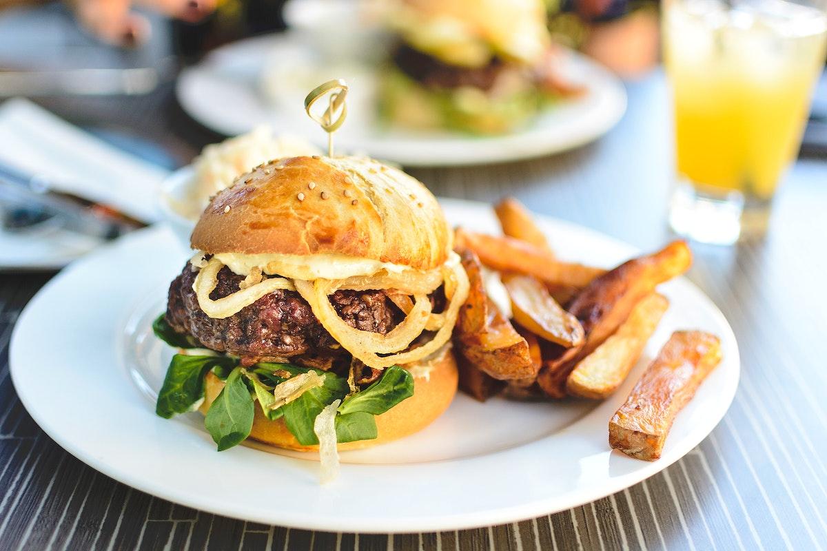 Juicy beef burger food photography