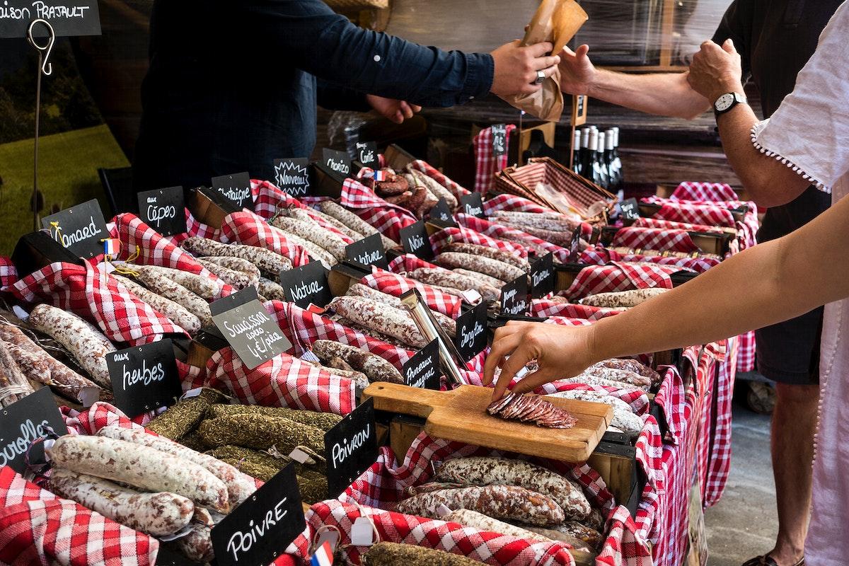 Various sausages at market