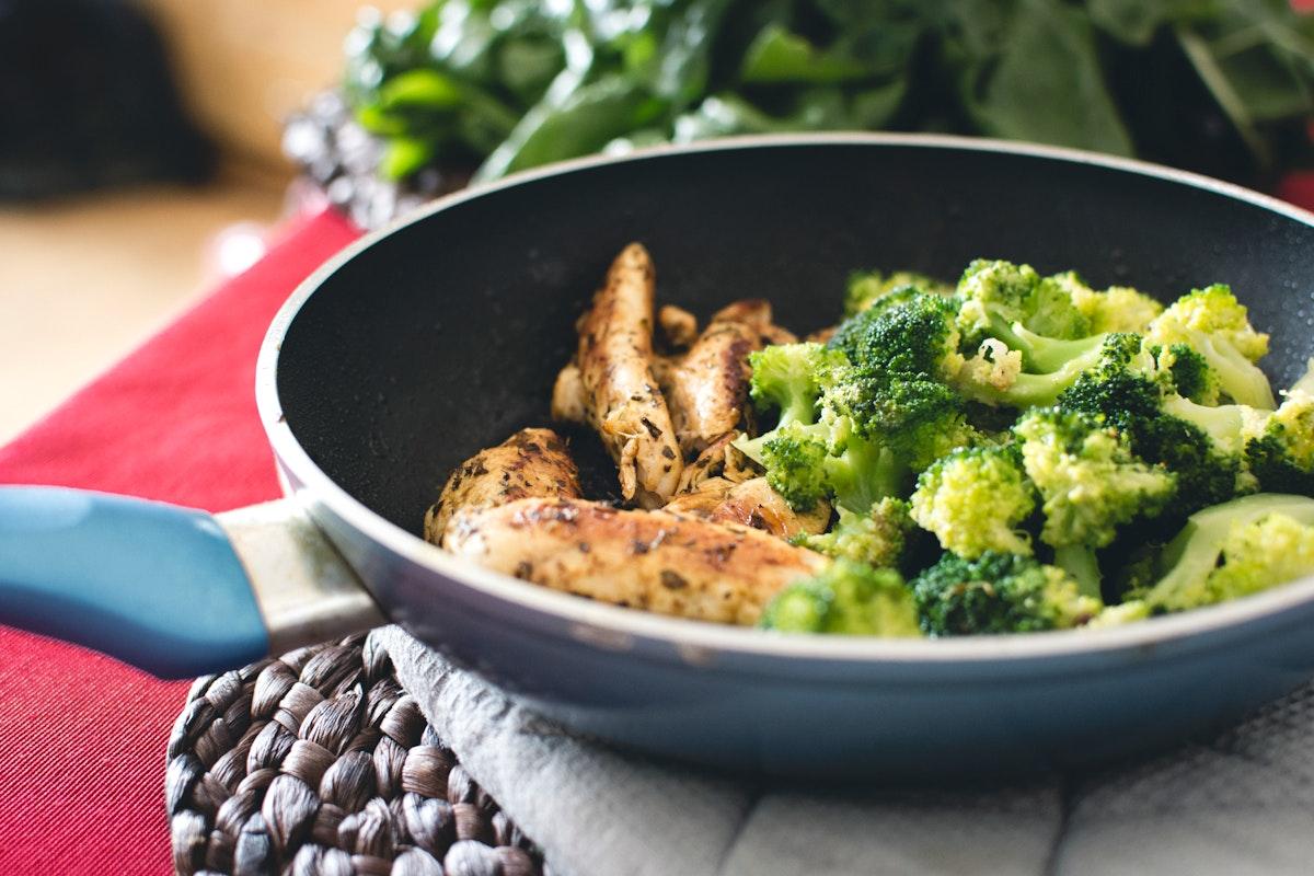 A chicken breast steak with broccoli