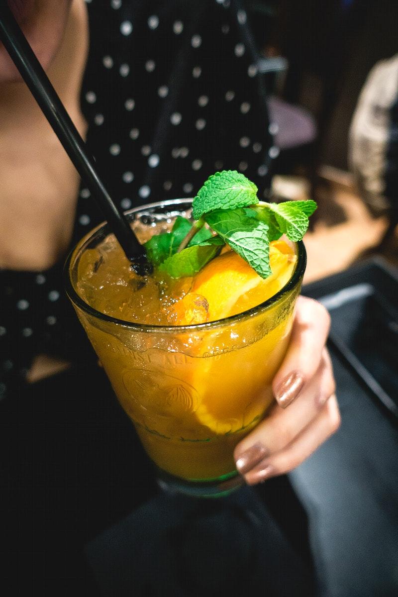 Orange juice decorated with mint