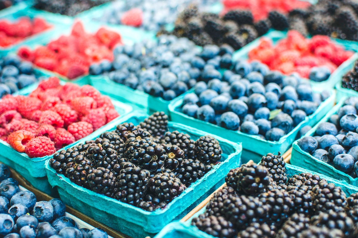 A variety of berries on sale