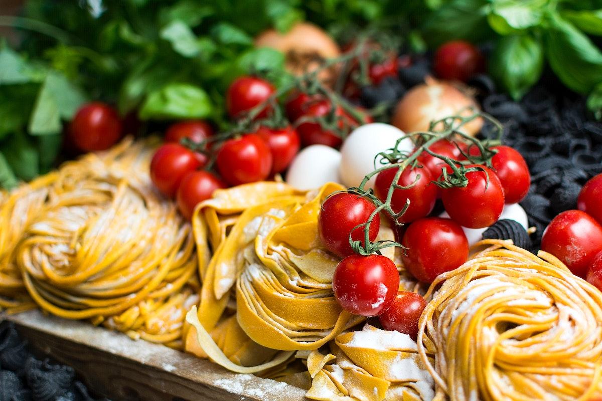Assortment of fresh Italian pasta with vegetables