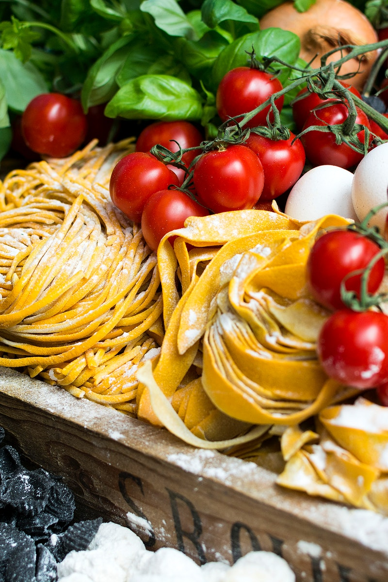 Fresh Italian pasta with vegetable food photography