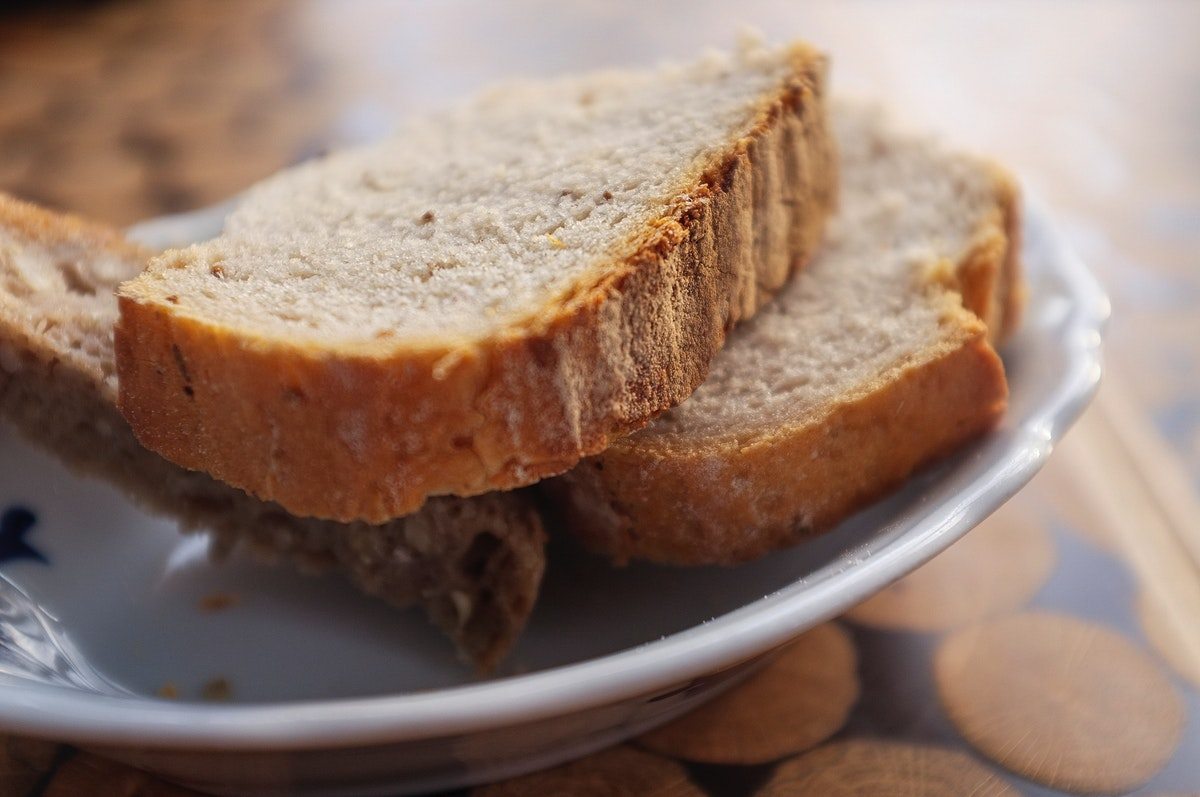 Closeup of slices of bread