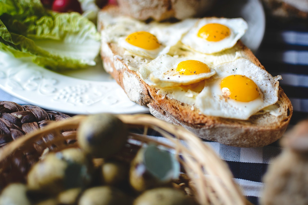 Breakfast with quail egg sunny side up