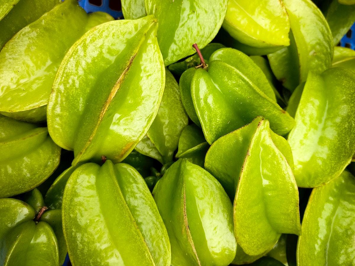 Closeup of green star fruit