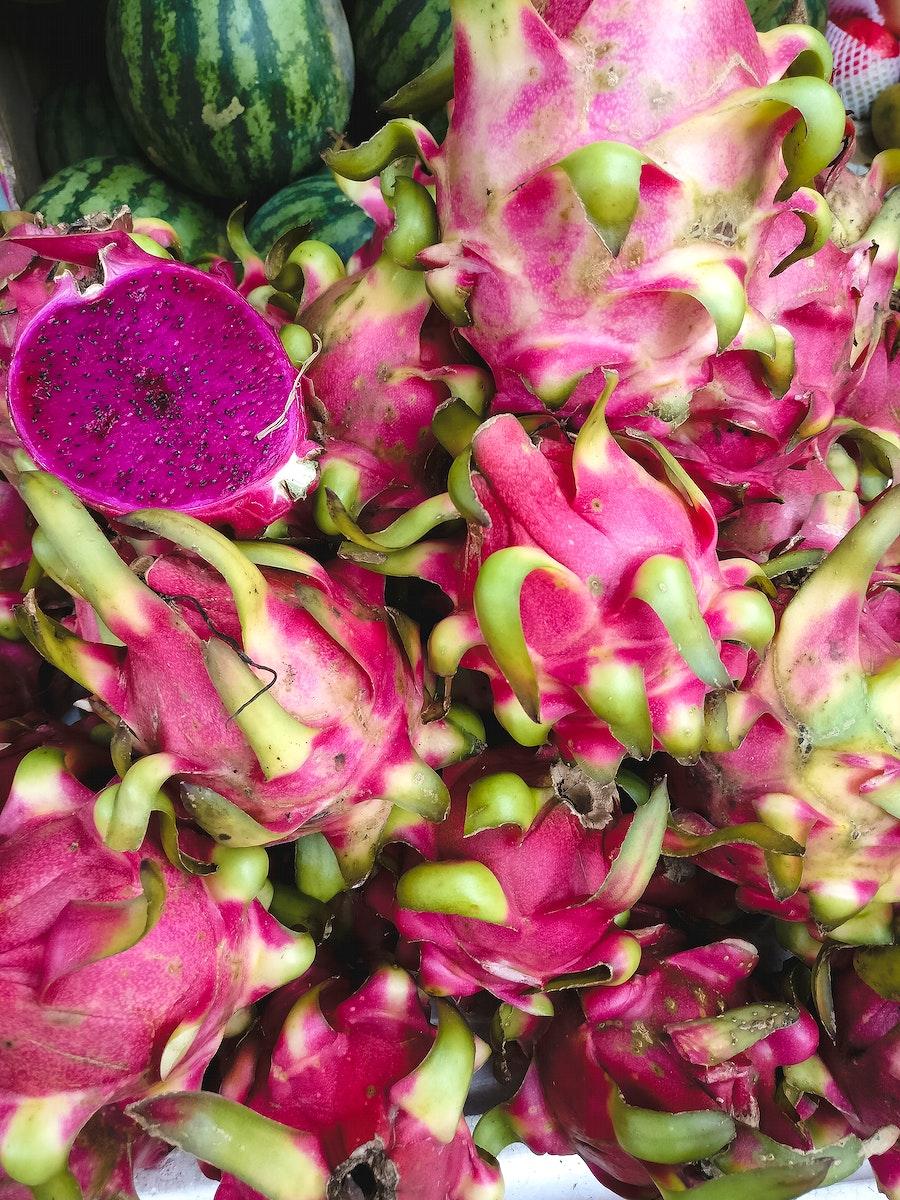 Closeup of fresh red dragon fruits