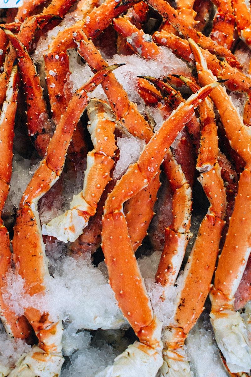 Fresh king crab at a fish market