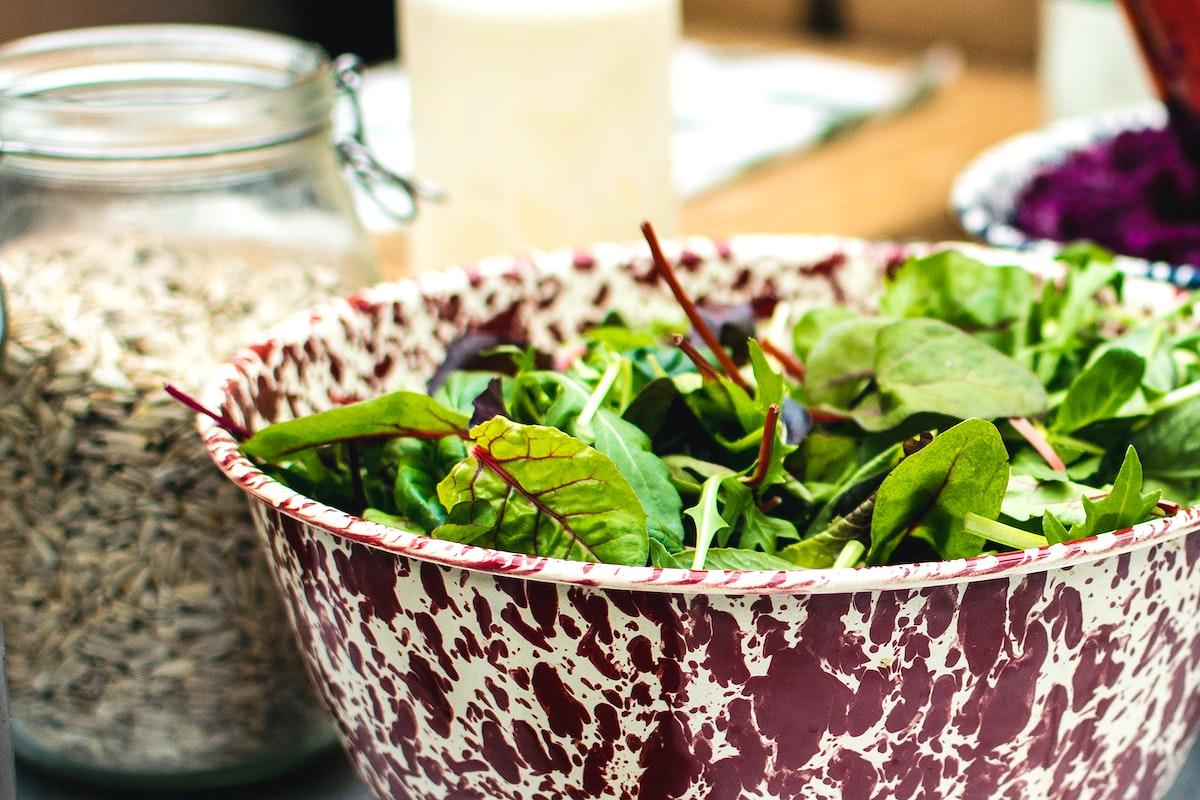 Fresh Swiss chard in a salad bowl