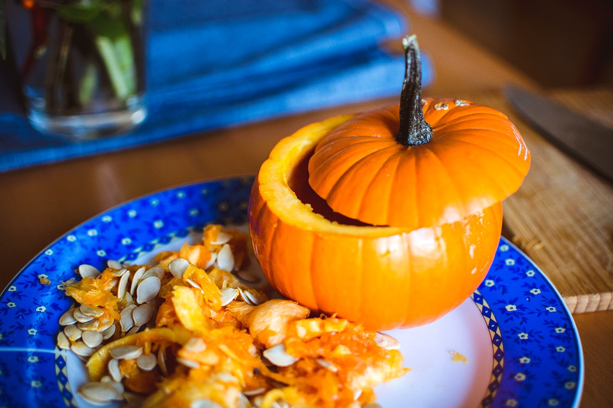 Carving a pumpkin for Halloween decoration