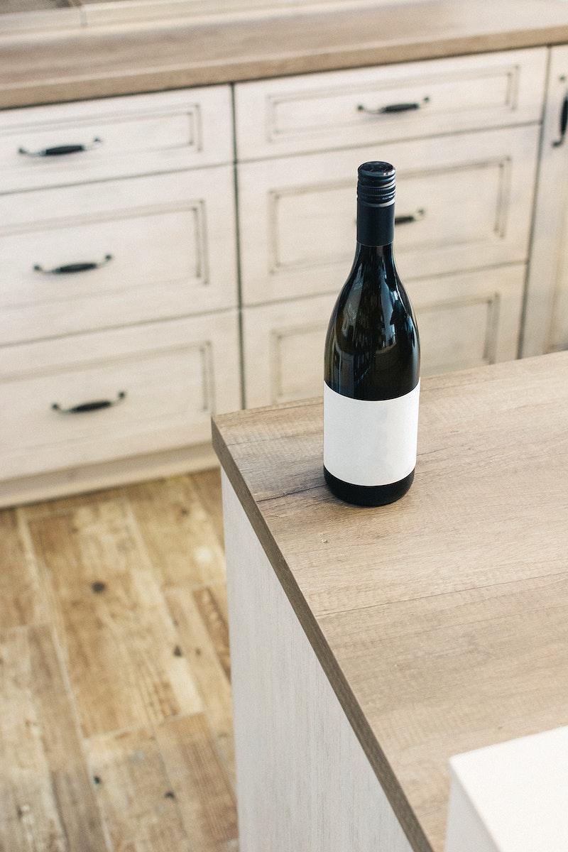 Bottle of wine in a kitchen