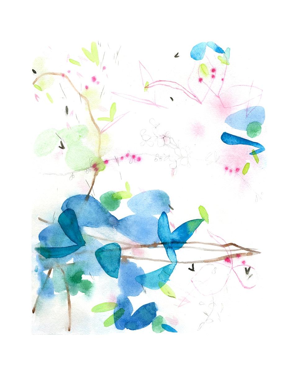 Botanical abstract wall art print and poster.