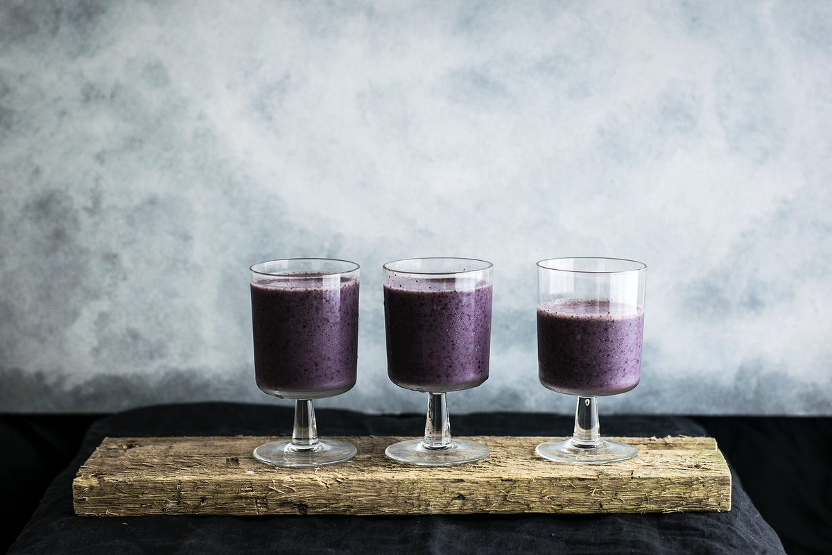 Blueberry smoothies with banana and almond milk. Visit Monika Grabkowska to see more of her food photography.