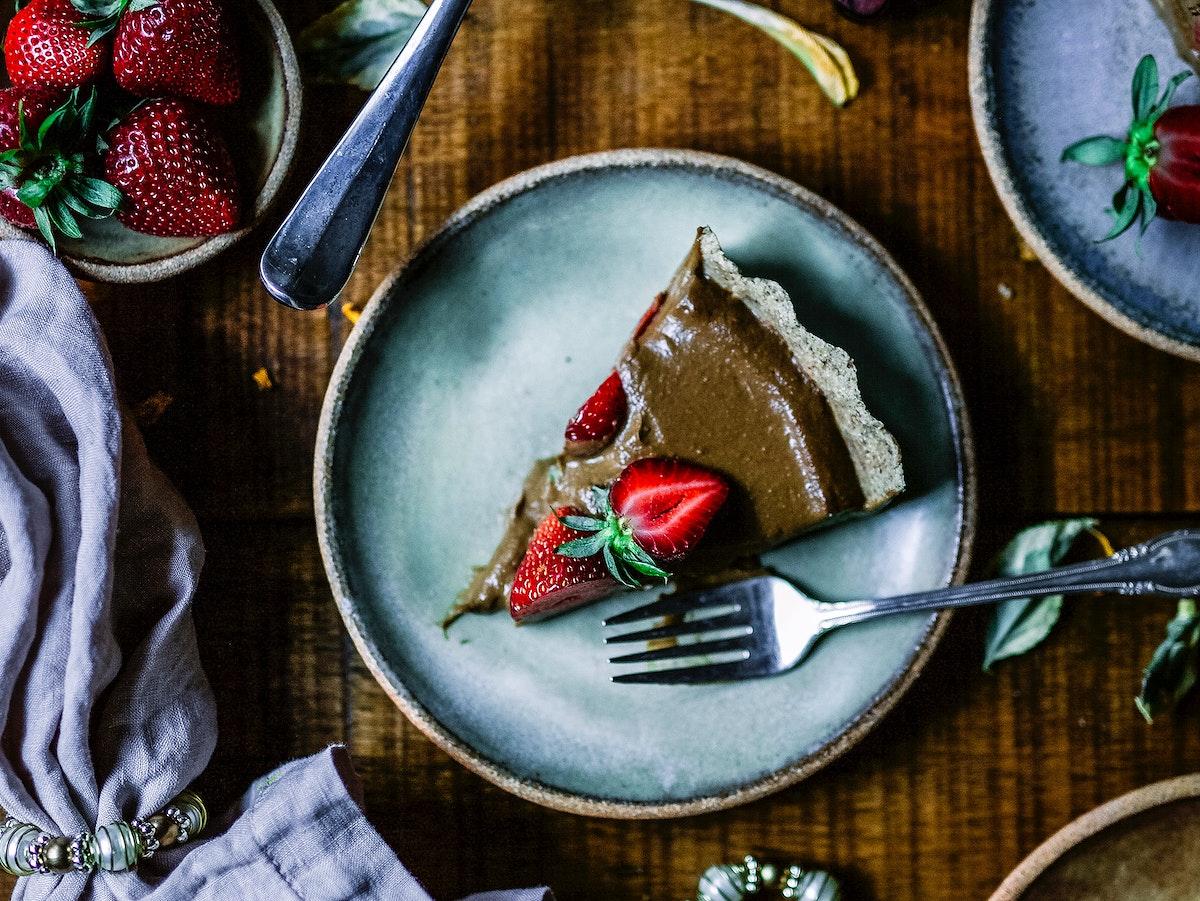 A slice of chocolate avocado tart for dessert