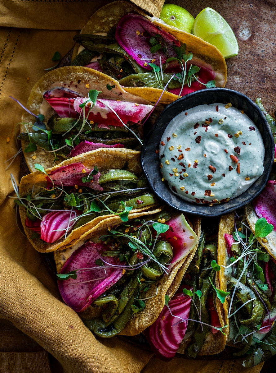 Colorful plant-based taco with beet