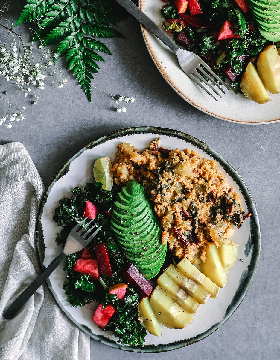 Boiled sweet potatoes, beets, and avocado with granola