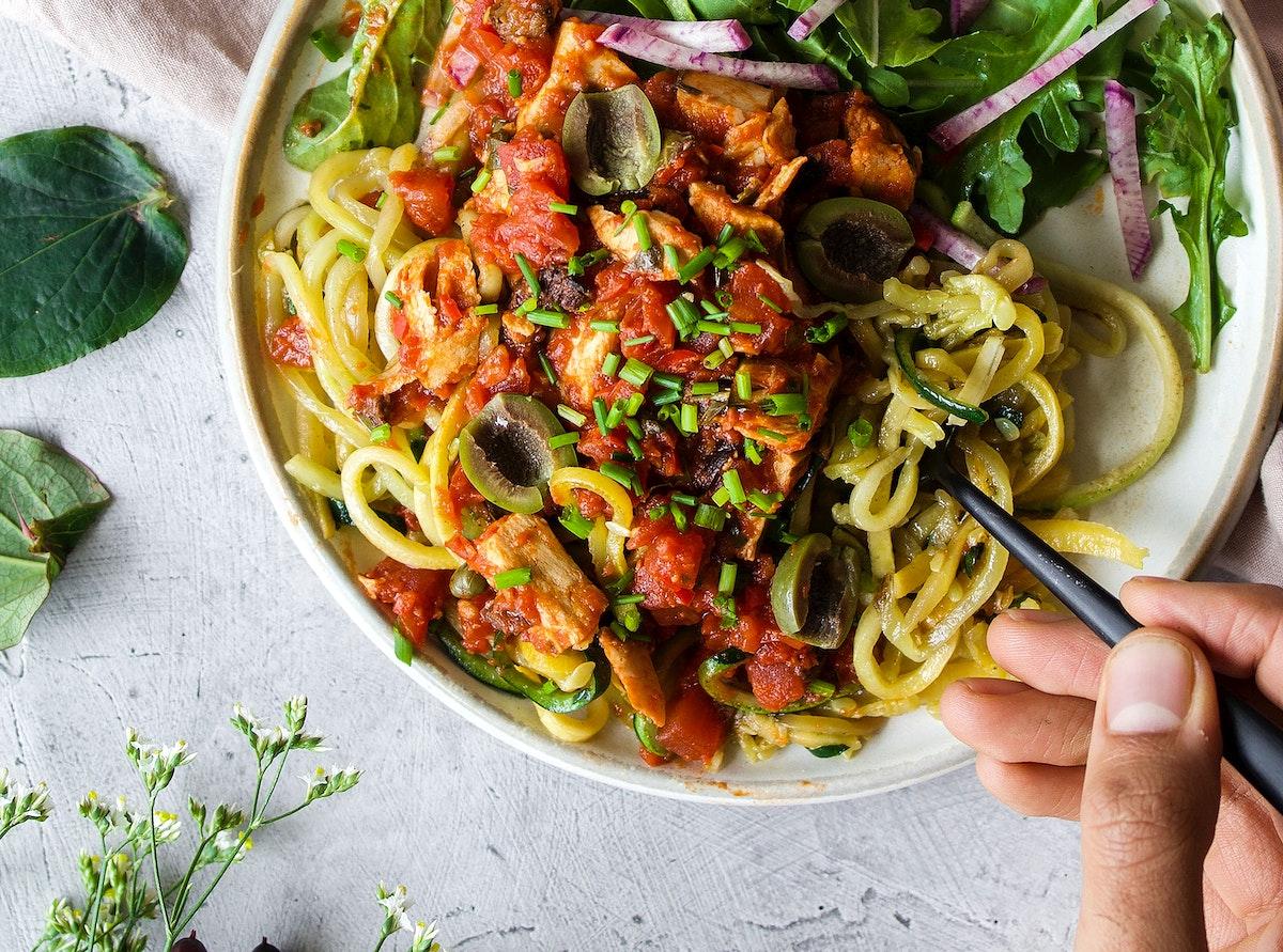 Plant based vegan spaghetti with olives