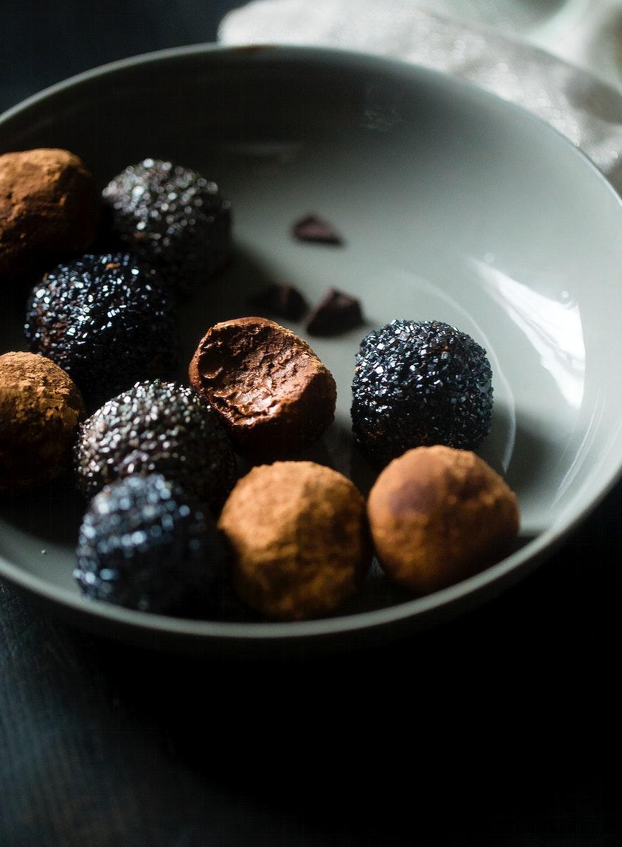 Avocado vegan chocolate truffles