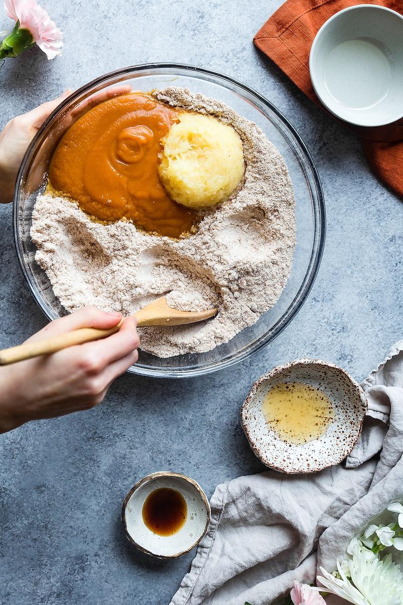 Mixing ingredients for vegan gluten free, dairy free carrot cake