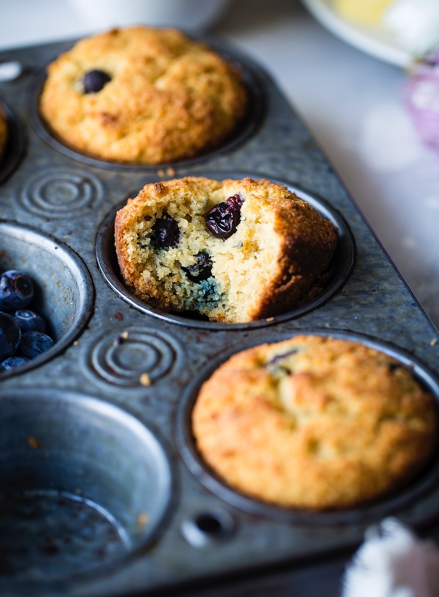 Low carb sugar-free keto blueberry muffins with almond flour
