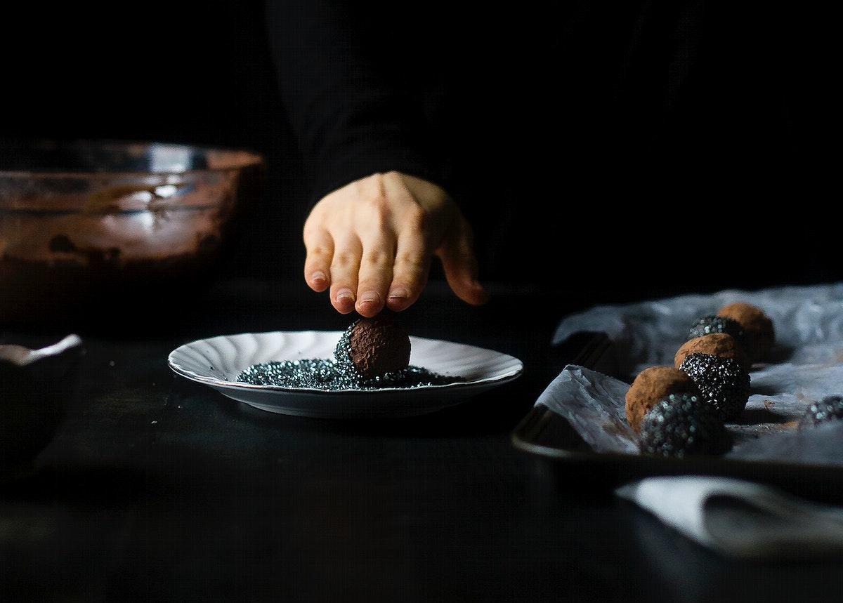 Preparing avocado vegan chocolate truffles