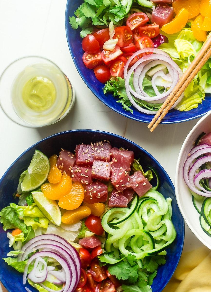 Citrus tuna ceviche bowls