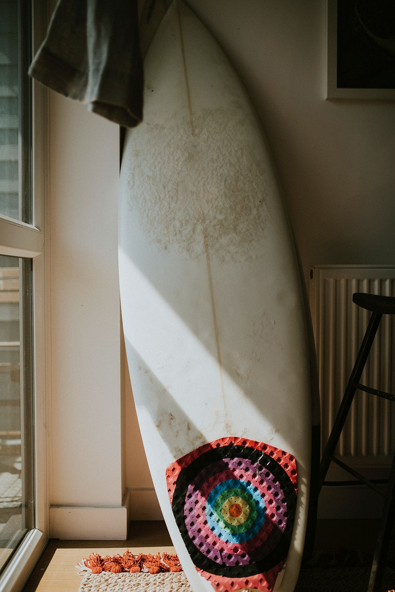 Surfboard in a living room