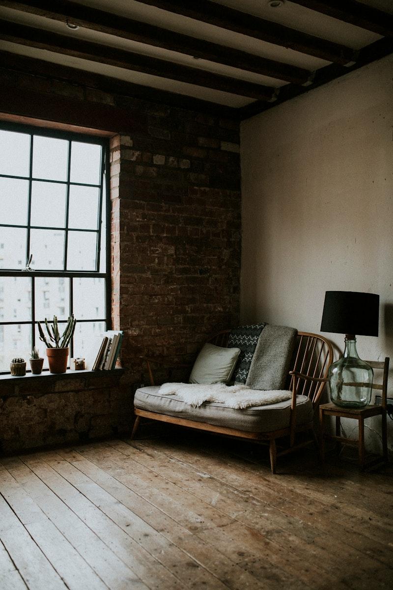Rustic loft style living room